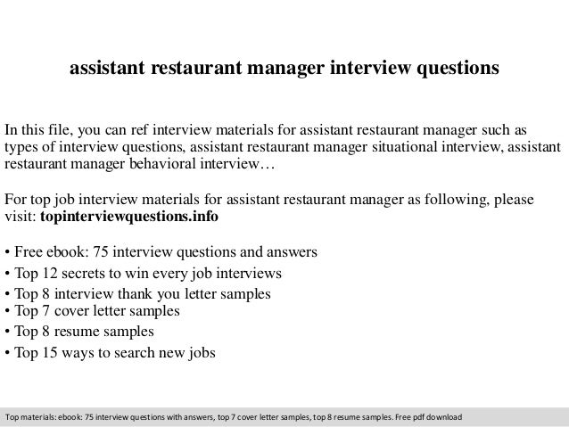 Assistant Manager Interview Questions Assistant Restaurant Manager Interview Questions