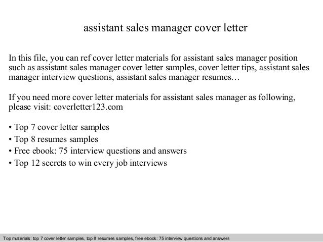 cover letter for a sales assistant job - assistant sales manager cover letter