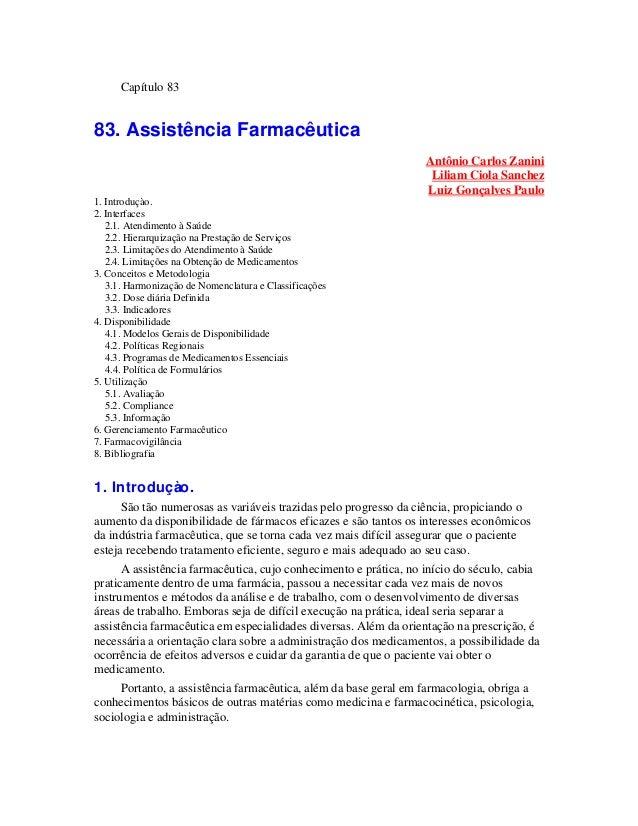 Capítulo 8383. Assistência Farmacêutica                                                                  Antônio Carlos Za...