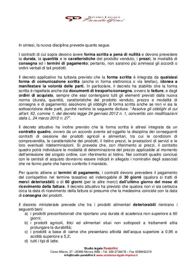 La Disciplina dei Contratti di Cessione di Prodotti Agroalimentari - Studio Legale Pandolfini Assistenza Legale Imprese Slide 2