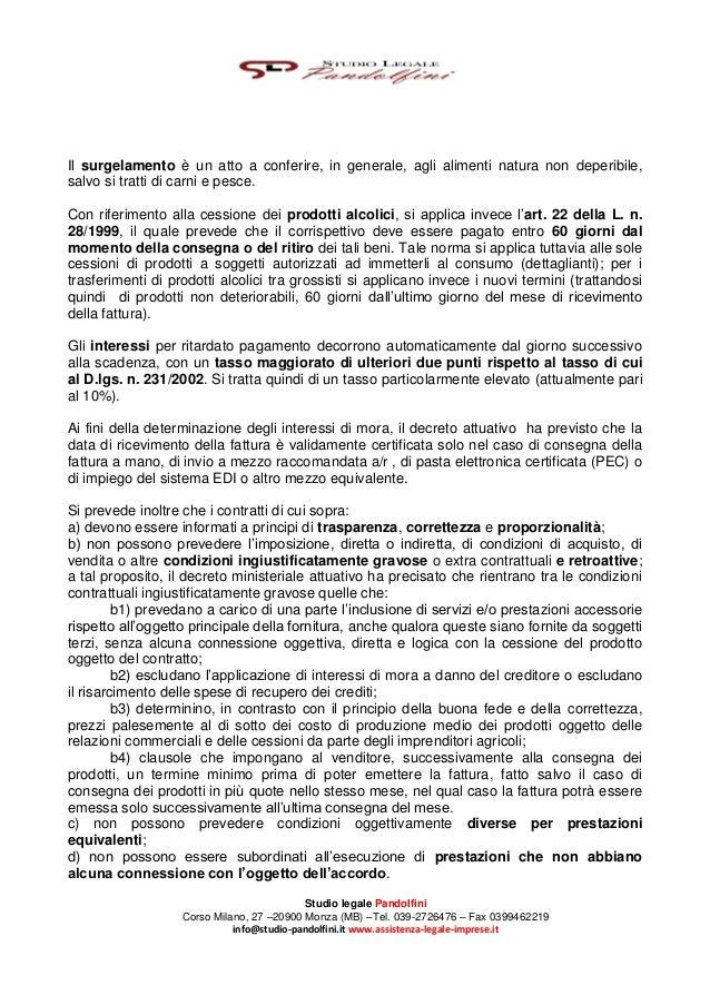 La Disciplina dei Contratti di Cessione di Prodotti Agroalimentari - Studio Legale Pandolfini Assistenza Legale Imprese Slide 3