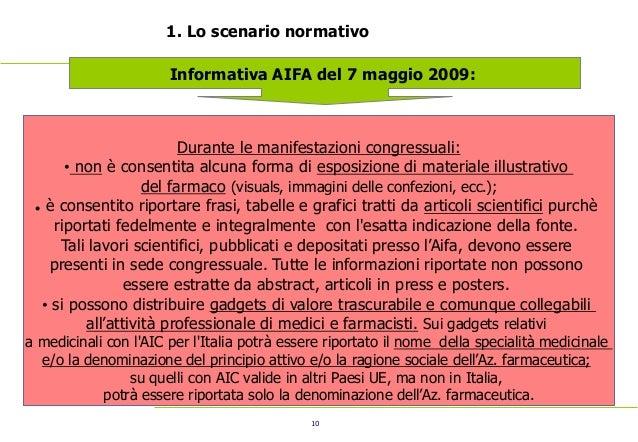 10 1. Lo scenario normativo Informativa AIFA del 7 maggio 2009: Durante le manifestazioni congressuali: • non è consentita...