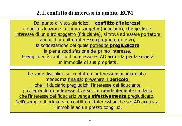 14 2. Il conflitto di interessi in ambito ECM Dal punto di vista giuridico, il conflitto d'interessi è quella situazione i...