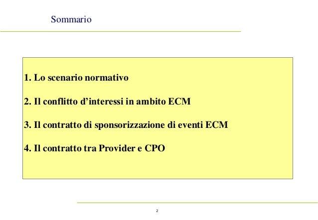 2 Sommario 1. Lo scenario normativo 2. Il conflitto d'interessi in ambito ECM 3. Il contratto di sponsorizzazione di event...