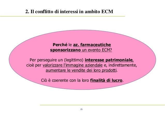 21 2. Il conflitto di interessi in ambito ECM Perché le az. farmaceutiche sponsorizzano un evento ECM? Per perseguire un (...