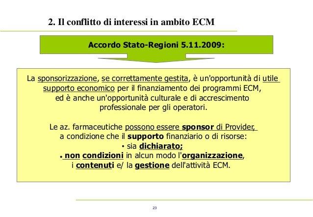 23 2. Il conflitto di interessi in ambito ECM Accordo Stato-Regioni 5.11.2009: La sponsorizzazione, se correttamente gesti...