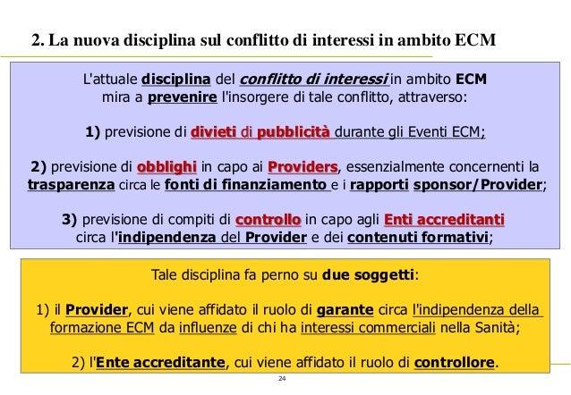 24 2. La nuova disciplina sul conflitto di interessi in ambito ECM L'attuale disciplina del conflitto di interessi in ambi...