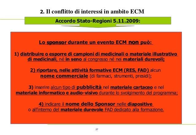 27 2. Il conflitto di interessi in ambito ECM Accordo Stato-Regioni 5.11.2009: Lo sponsor durante un evento ECM non può: 1...
