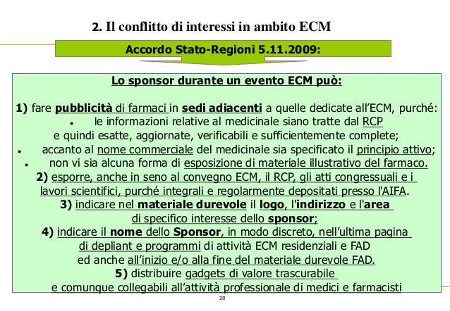 28 2. Il conflitto di interessi in ambito ECM Accordo Stato-Regioni 5.11.2009: Lo sponsor durante un evento ECM può: 1) fa...