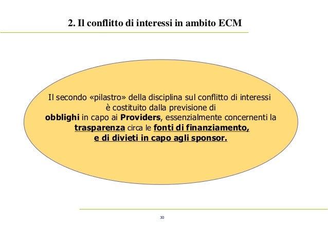 30 2. Il conflitto di interessi in ambito ECM Il secondo «pilastro» della disciplina sul conflitto di interessi è costitui...