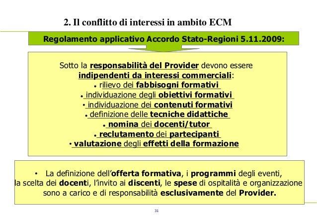 31 2. Il conflitto di interessi in ambito ECM Regolamento applicativo Accordo Stato-Regioni 5.11.2009: Sotto la responsabi...