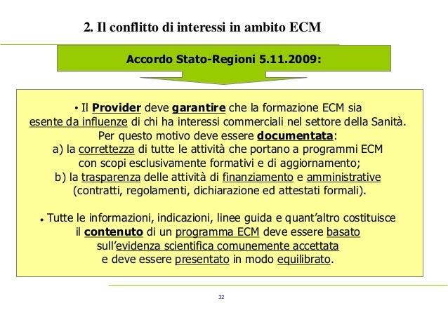 32 2. Il conflitto di interessi in ambito ECM Accordo Stato-Regioni 5.11.2009: • Il Provider deve garantire che la formazi...