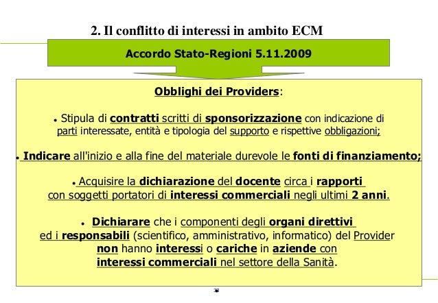 33 2. Il conflitto di interessi in ambito ECM Accordo Stato-Regioni 5.11.2009 Obblighi dei Providers:  Stipula di contrat...