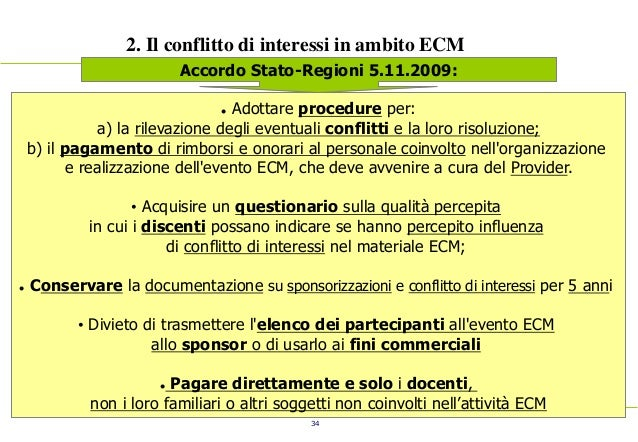 34 2. Il conflitto di interessi in ambito ECM Accordo Stato-Regioni 5.11.2009:  Adottare procedure per: a) la rilevazione...