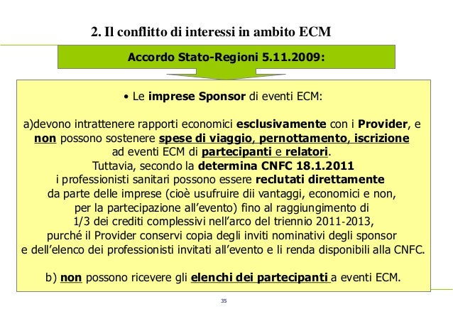 35 2. Il conflitto di interessi in ambito ECM Accordo Stato-Regioni 5.11.2009: • Le imprese Sponsor di eventi ECM: a)devon...