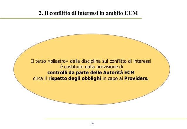 36 2. Il conflitto di interessi in ambito ECM Il terzo «pilastro» della disciplina sul conflitto di interessi è costituito...
