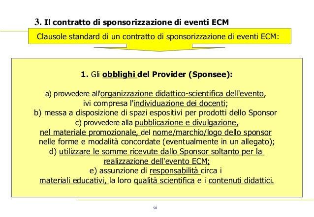50 3. Il contratto di sponsorizzazione di eventi ECM Clausole standard di un contratto di sponsorizzazione di eventi ECM: ...