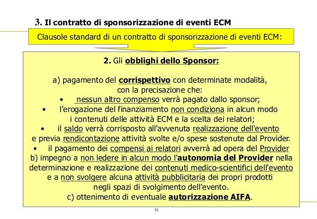51 3. Il contratto di sponsorizzazione di eventi ECM Clausole standard di un contratto di sponsorizzazione di eventi ECM: ...
