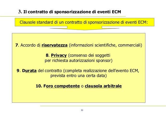53 3. Il contratto di sponsorizzazione di eventi ECM 7. Accordo di riservatezza (informazioni scientifiche, commerciali)...