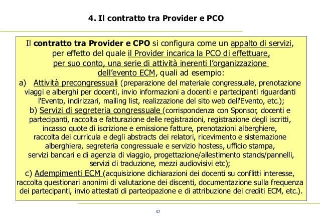 57 4. Il contratto tra Provider e PCO Il contratto tra Provider e CPO si configura come un appalto di servizi, per effetto...