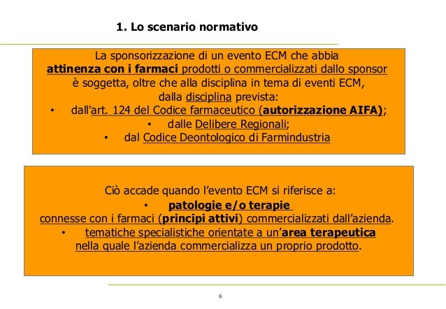 6 1. Lo scenario normativo La sponsorizzazione di un evento ECM che abbia attinenza con i farmaci prodotti o commercializz...