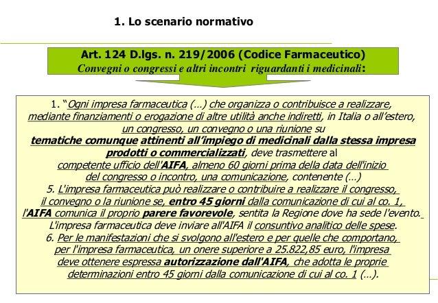 7 1. Lo scenario normativo Art. 124 D.lgs. n. 219/2006 (Codice Farmaceutico) Convegni o congressi e altri incontri rigu...