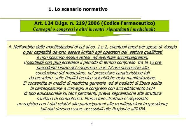 8 1. Lo scenario normativo Art. 124 D.lgs. n. 219/2006 (Codice Farmaceutico) Convegni o congressi e altri incontri rigu...