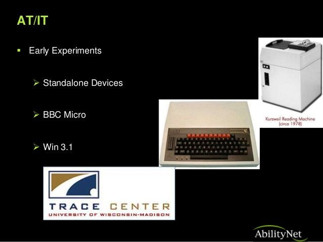 AT/IT Windows and Beyond  Integration of AT into ICT's  Accessibility Options  Supported Third Party Devices  Hardware...