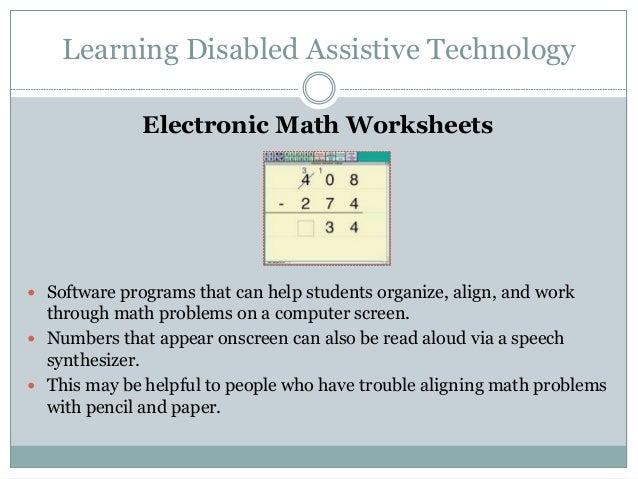 math worksheet : assistive technology : Electronic Math Worksheets