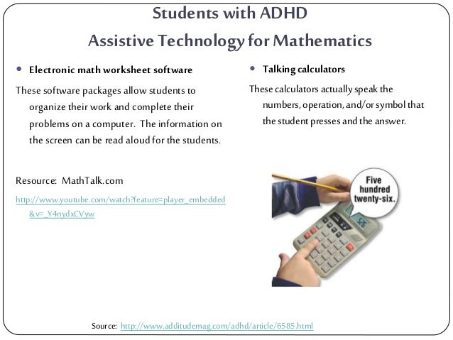 Assistive Technology EG – Electronic Math Worksheets
