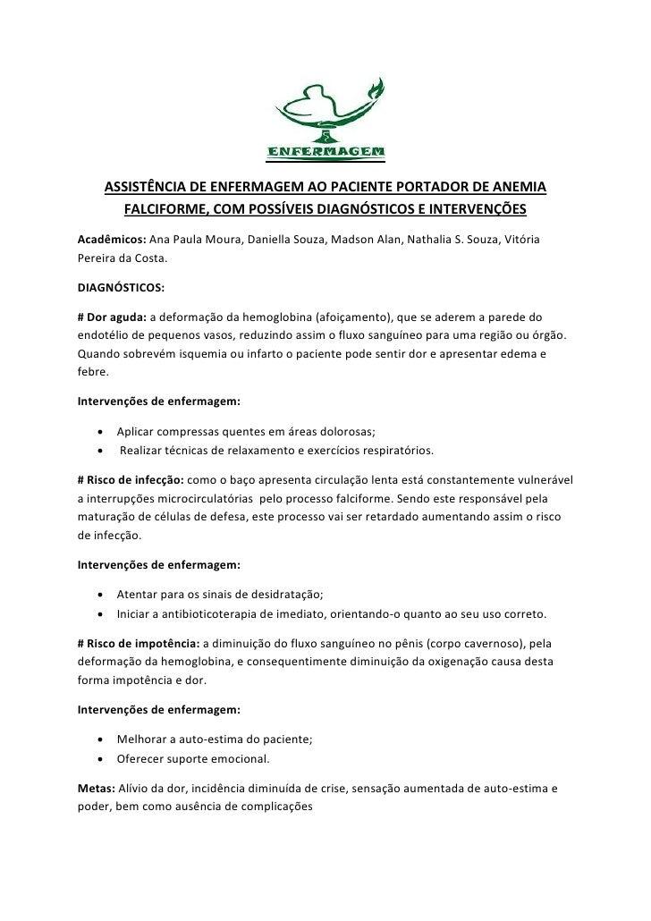 ASSISTÊNCIA DE ENFERMAGEM AO PACIENTE PORTADOR DE ANEMIA         FALCIFORME, COM POSSÍVEIS DIAGNÓSTICOS E INTERVENÇÕESAcad...