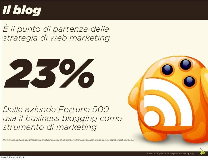 Il blog È il punto di partenza della strategia di web marketing   23% Delle aziende Fortune 500 usa il business blogging c...