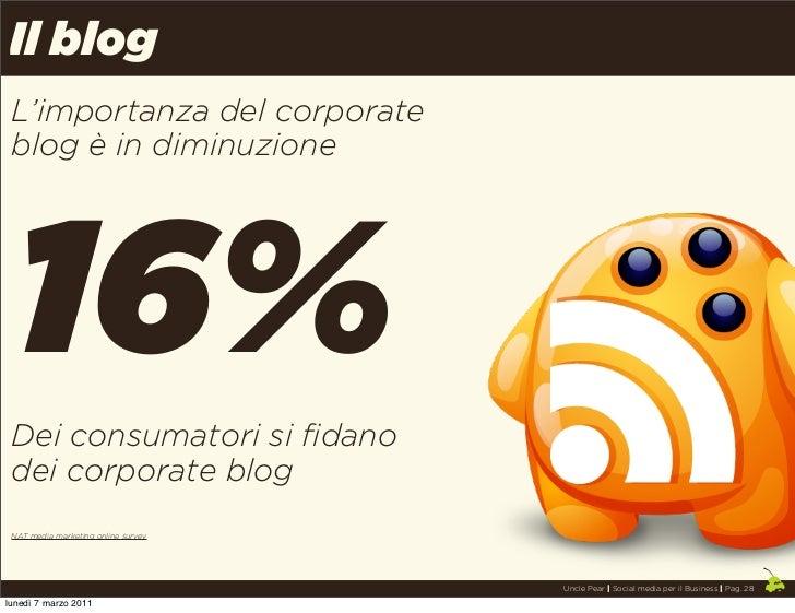 Il blog L'importanza del corporate blog è in diminuzione 16% Dei consumatori si fidano dei corporate blog NAT media market...