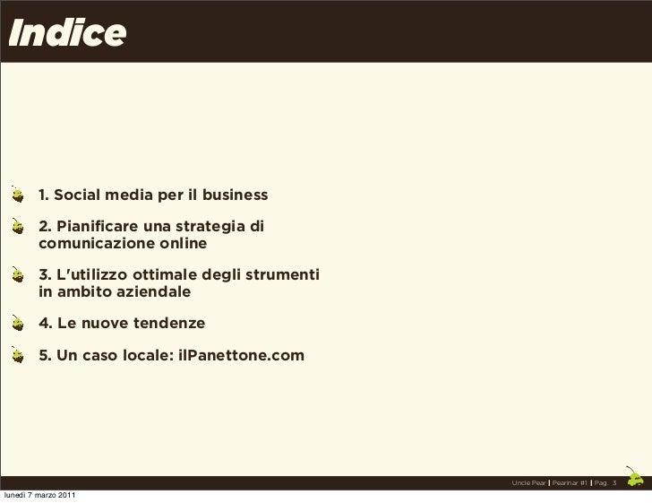 Indice         1. Social media per il business         2. Pianificare una strategia di         comunicazione online       ...