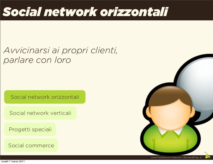 Social network orizzontali Avvicinarsi ai propri clienti, parlare con loro       Social network orizzontali      Social ne...