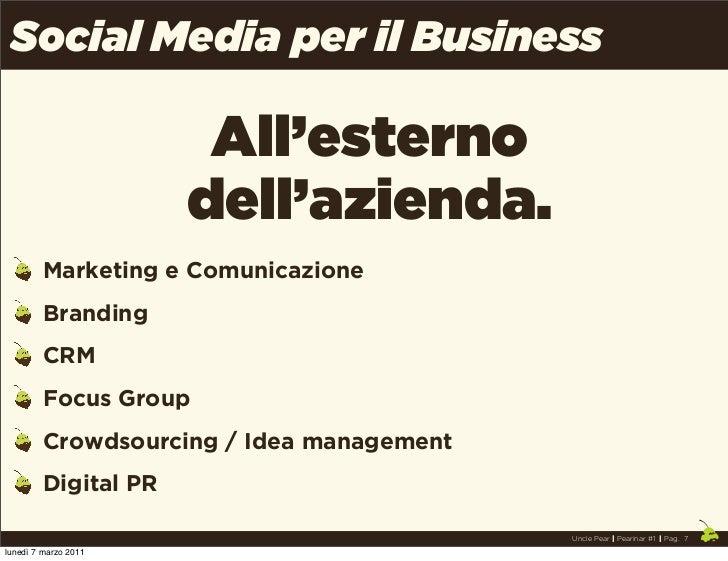 Social Media per il Business                       All'esterno                      dell'azienda.         Marketing e Comu...