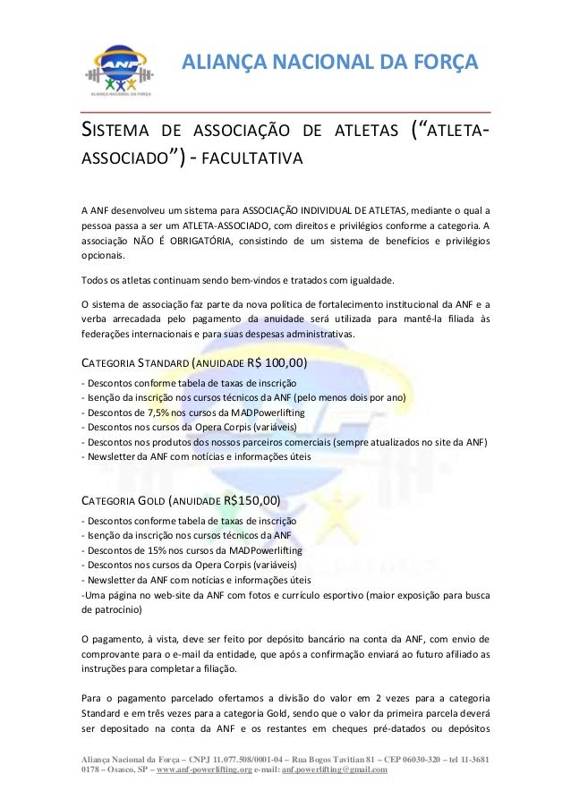 ALIANÇA NACIONAL DA FORÇAAliança Nacional da Força – CNPJ 11.077.508/0001-04 – Rua Bogos Tavitian 81 – CEP 06030-320 – tel...