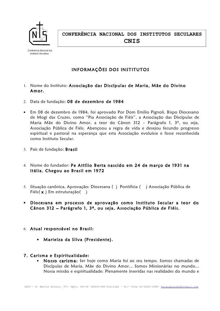 CONFERÊNCIA NACIONAL DOS INSTITUTOS SECULARES                                                                CNIS    Confe...