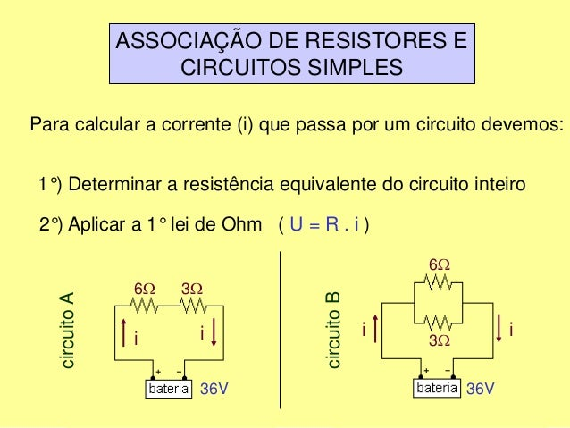 ASSOCIAÇÃO DE RESISTORES E CIRCUITOS SIMPLES Para calcular a corrente (i) que passa por um circuito devemos: 1°) Determina...