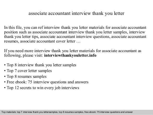 Associate Accountant Interview Thank You Letter In This File, You Can Ref  Interview Thank You ...