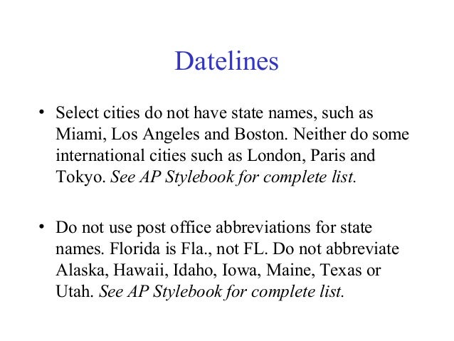 AP Style State Abbreviations