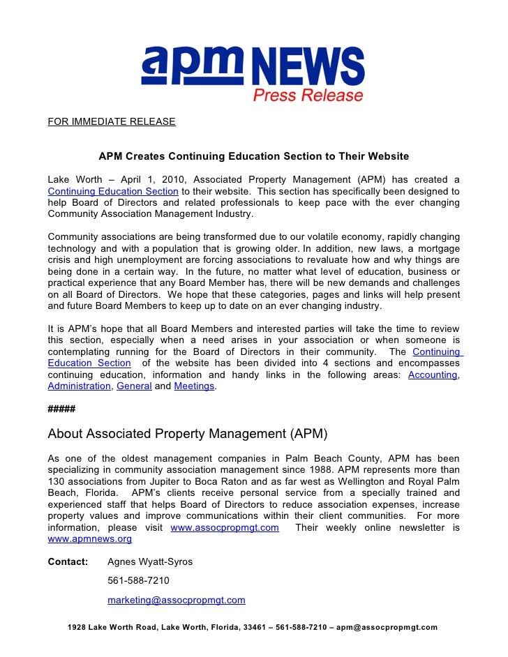 FOR IMMEDIATE RELEASE              APM Creates Continuing Education Section to Their Website  Lake Worth – April 1, 2010, ...