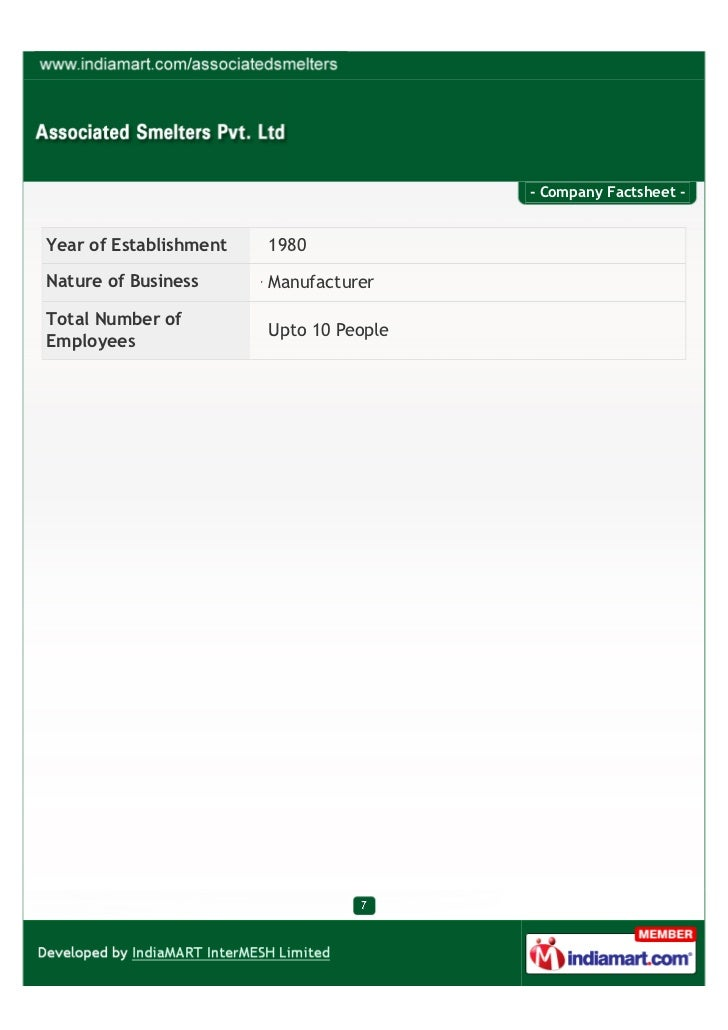- Company Factsheet -Year of Establishment   1980Nature of Business      ManufacturerTotal Number of                      ...