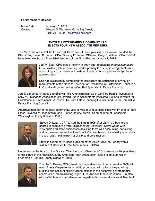 For Immediate Release  Issue Date:         January 18, 2013  Contact:            Edward D. Warren – Marketing Director    ...