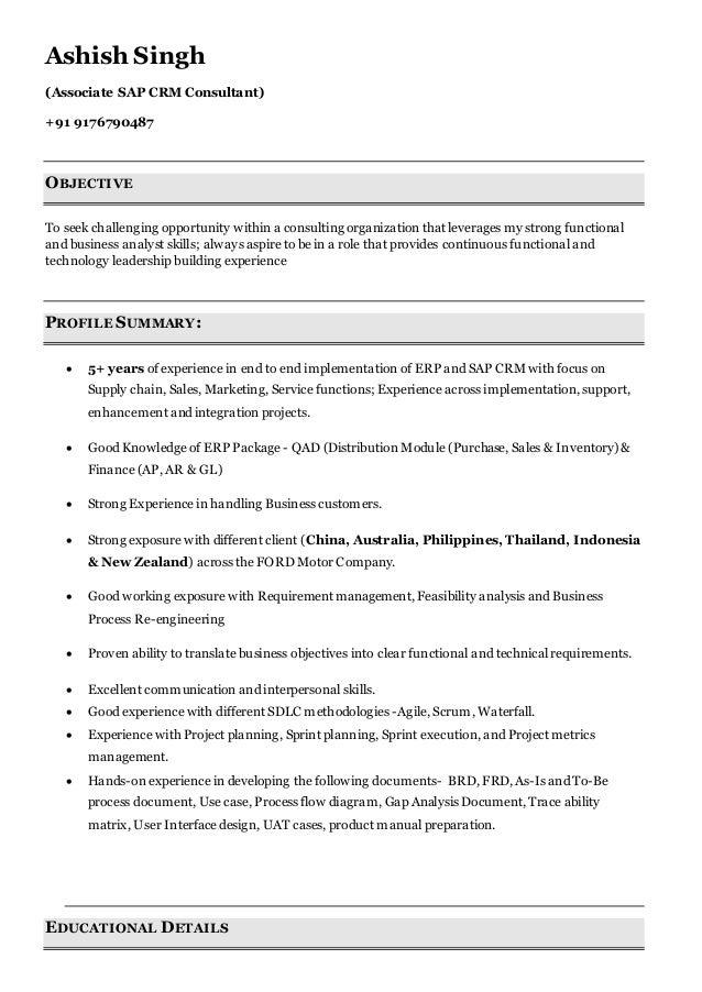 associate sap crm consultant ashish resume  1