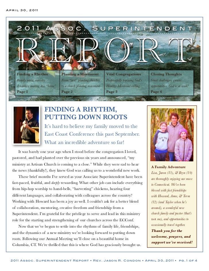April 30, 2011    2011                    Assoc.                        Superintendent   REPORT    Finding a Rhythm       ...