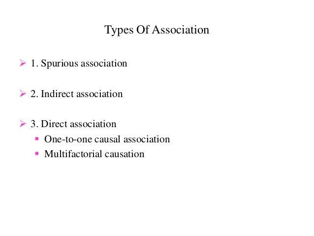 Types Of Association  1. Spurious association  2. Indirect association  3. Direct association  One-to-one causal assoc...