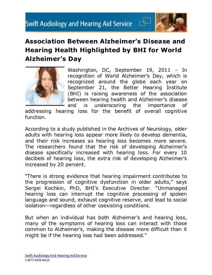 Association Between Alzheimer's Disease andHearing Health Highlighted by BHI for WorldAlzheimer's Day                Washi...