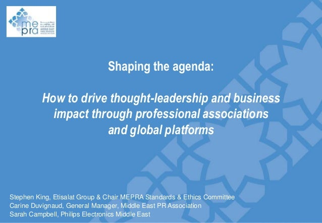 Shaping the agenda:  How to drive thought-leadership and business impact through professional associations Slide divider a...