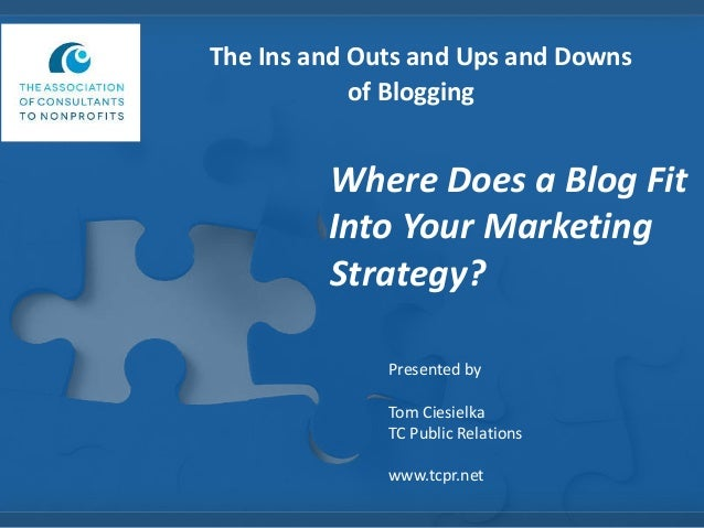 The Ins and Outs and Ups and Downs of Blogging  Where Does a Blog Fit Into Your Marketing Strategy? Presented by  Tom Cies...